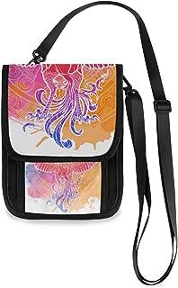 Cell Phone Purse Wallet Mythycal Bird Phoenix Samsara Wheel On Roomy Travel Passport Bag Phone Holder Small Crossbody Bag With Credit Card Slots