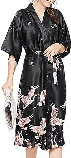 女性用 シルク ロング バスローブ 半袖 前開き サテンローブ ナイトガウン 浴衣式 ワンピース クレーン 丹頂鹤 和柄 Vネック 着物ローブ