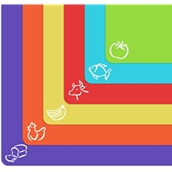 Extra Thick Flexible Plastic Cutting Board Mats with Food Icons & EZ-Grip Waffle Back, (Set of 6) Dishwasher Safe
