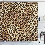 Roman Lin Duschvorhang mit Leopardenmuster,Hautmuster eines Wilden Safari-Tieres Leistungsstarke Panthera-Großkatze,Badezimmerdekor aus Stoffgewebe mit Haken,152X183CM,Braunbeige