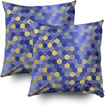 TOMWISH 2 Packs Hidden Zippered Pillowcase Yellow Gold Cobalt Sapphire Blue Hexagon VIP 18X18Inch,Decorative Throw Custom Cotton Pillow Case Cushion Cover for Home