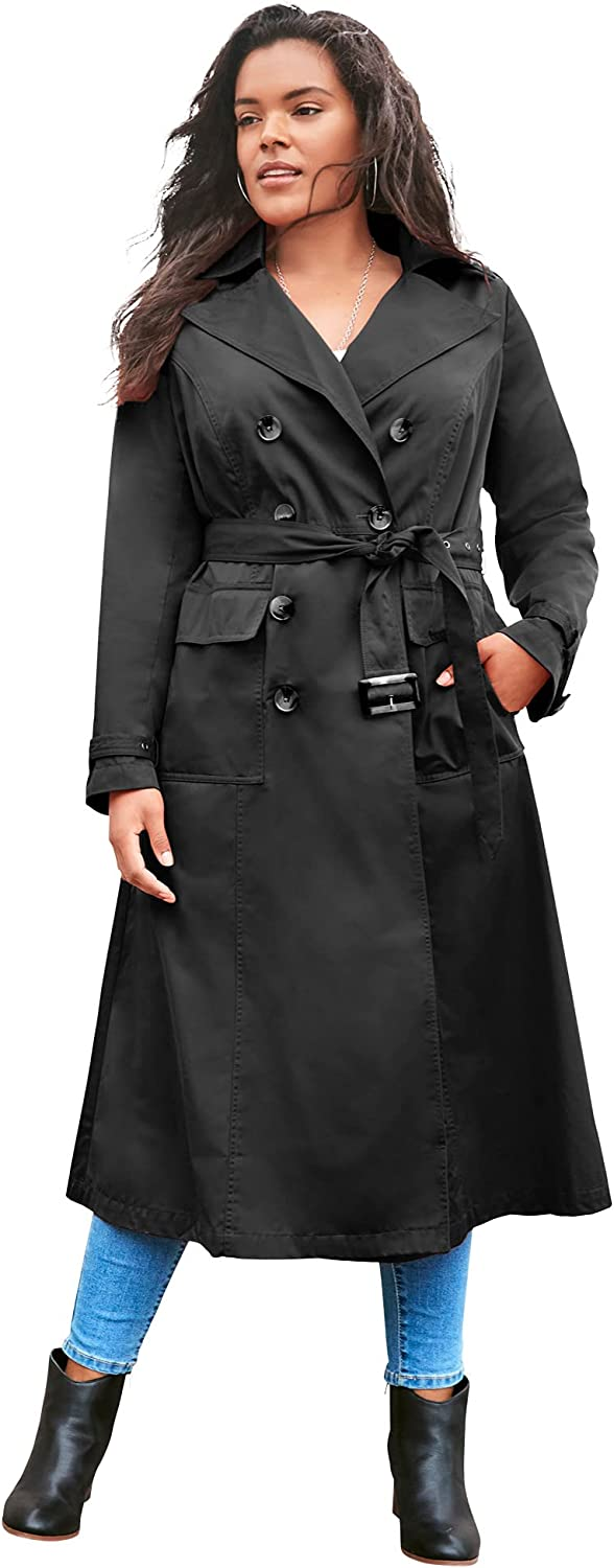 Roaman's Women's Plus Size Essential Trench Coat Double Breasted Raincoat