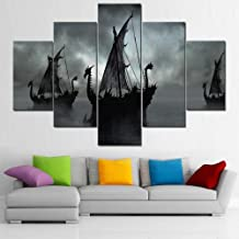 Wall Art for Living Room Fantasy Boats on Misty Lake Paintings Contemporary Artwork 5 Piece Black Canvas Artwork HD Prints...