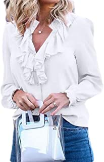 UUYUK Womens Long Sleeve V-Neck Solid Lotus Ruffle Tops Chiffon Shirts Blouse