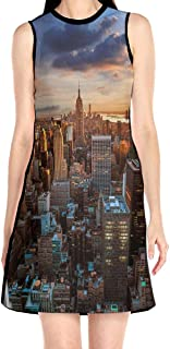 Women's Sleeveless Dress Dusk Cityscape Fashion Casual Party Slim A-Line Dress Midi Tank Dresses