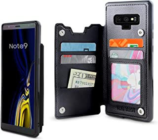 Gear Beast Lychee PU Leather Protective Top View Slim Wallet Case Fits Galaxy Note 9 Includes Flip Folio Cover, with Five Card Slots Including Transparent ID Holder