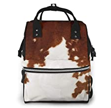 Brown Cowhide Watercolor Diaper Bag Backpack Maternity Baby Nappy Changing Bags Shoulder Bag Organizer Multi-Function Travel Backpack
