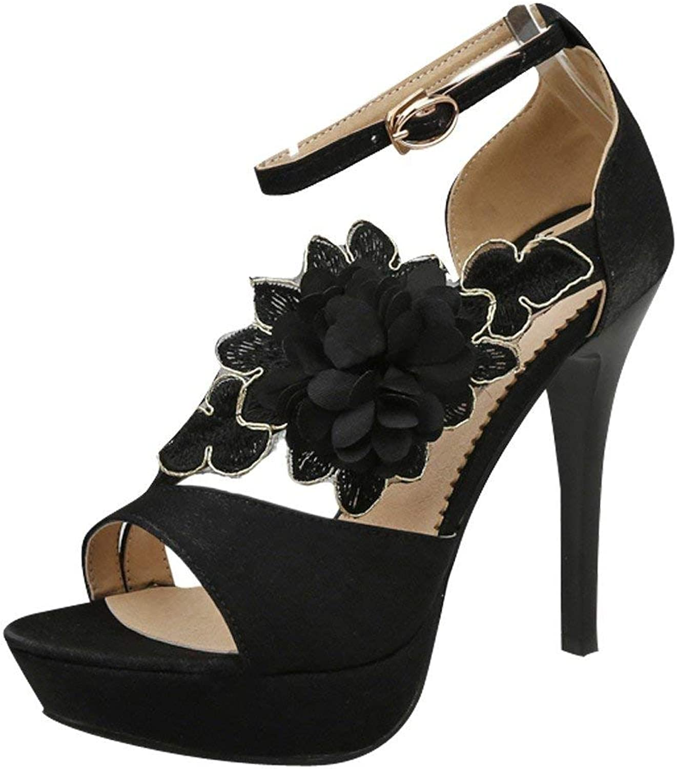 Ghapwe Women's High Heel Open Toe Flower Platform Heeled Sandals Black 8 M US
