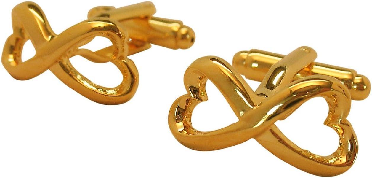 Men's Executive Gold Tone Heart Shape Endless Love Infinity Symbol Cufflinks Cuff Links