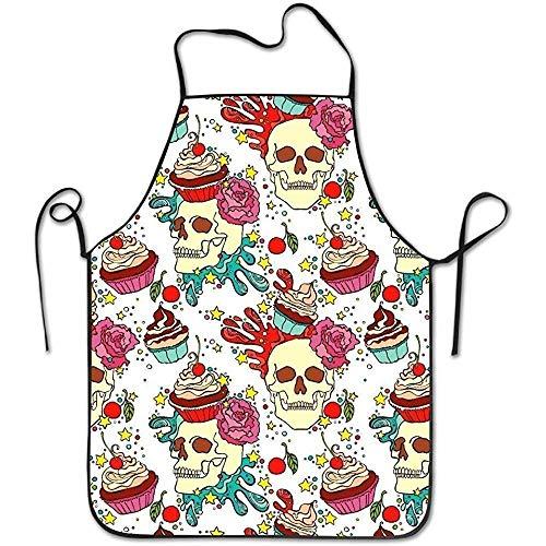 zhengshaolongG Adjustable Bib Delantales Skull Cupcake Garden Boyfriend Housewife Commercial Men & Women Working Chefs Bib Delantal For Boyfriends