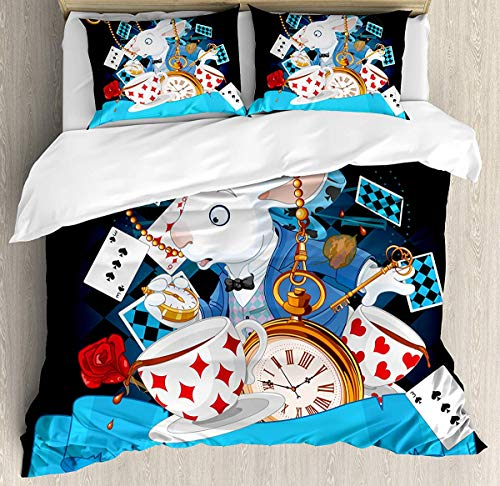 Alice in Wonderland Duvet Cover Set Small Double Size, Rabbit Amazing with Motion Cups Hearts Rose Flower Character Alice Cartoon, Decorative 3 Piece Bedding Set with 2 Pillow Shams, Multi