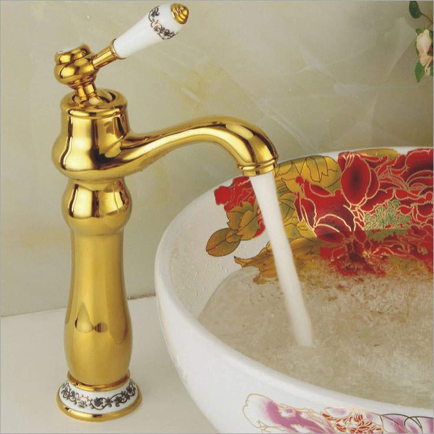gold Wash Basin Bathroom Above Counter Basin Hot and Cold Water Faucet