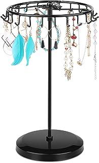 Flexzion Jewelry Tower Organizer Tree Storage, 360 Degree Rotating Steel Frame, Metal Accessories Display Stand Holder wit...