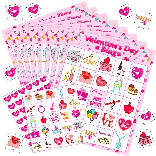 Valentinstag Spiele Bingo Karten für Kinder Klasse Party Supplies Aktivität, 24 Spieler (Stil 2)