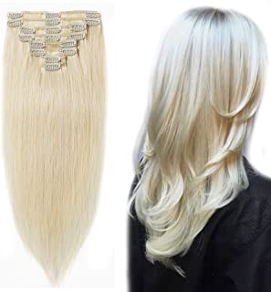 """Clip in 100% Remy Human Hair Extensions 8""""-24"""" Grade 7A Quality Full Head 8pcs 18clips Long Soft Silky Straight for Women ..."""
