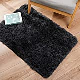 Ophanie Ultra Soft Fluffy Area Rugs for Bedroom, Luxury Shag Rug Faux Fur Non-Slip Floor Carpet for Kids Room, Baby Room, Girls Room, Play Room, and Nursery - Modern Home Decor, 2x3 Feet Black