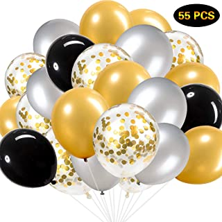 """Gold Confetti Balloons Set(55 Pcs), 12"""" Black and Gold Balloons Party Balloons for Wedding, Baby Shower, Anniversary, Graduation, Birthday Party Decorations"""