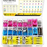300 PCS Heat Shrink Wire Connectors Qibaok Insulated Electrical Terminals Kit Waterproof Marine Crimp Connector Assortment Ring Fork Spade Butt Splices