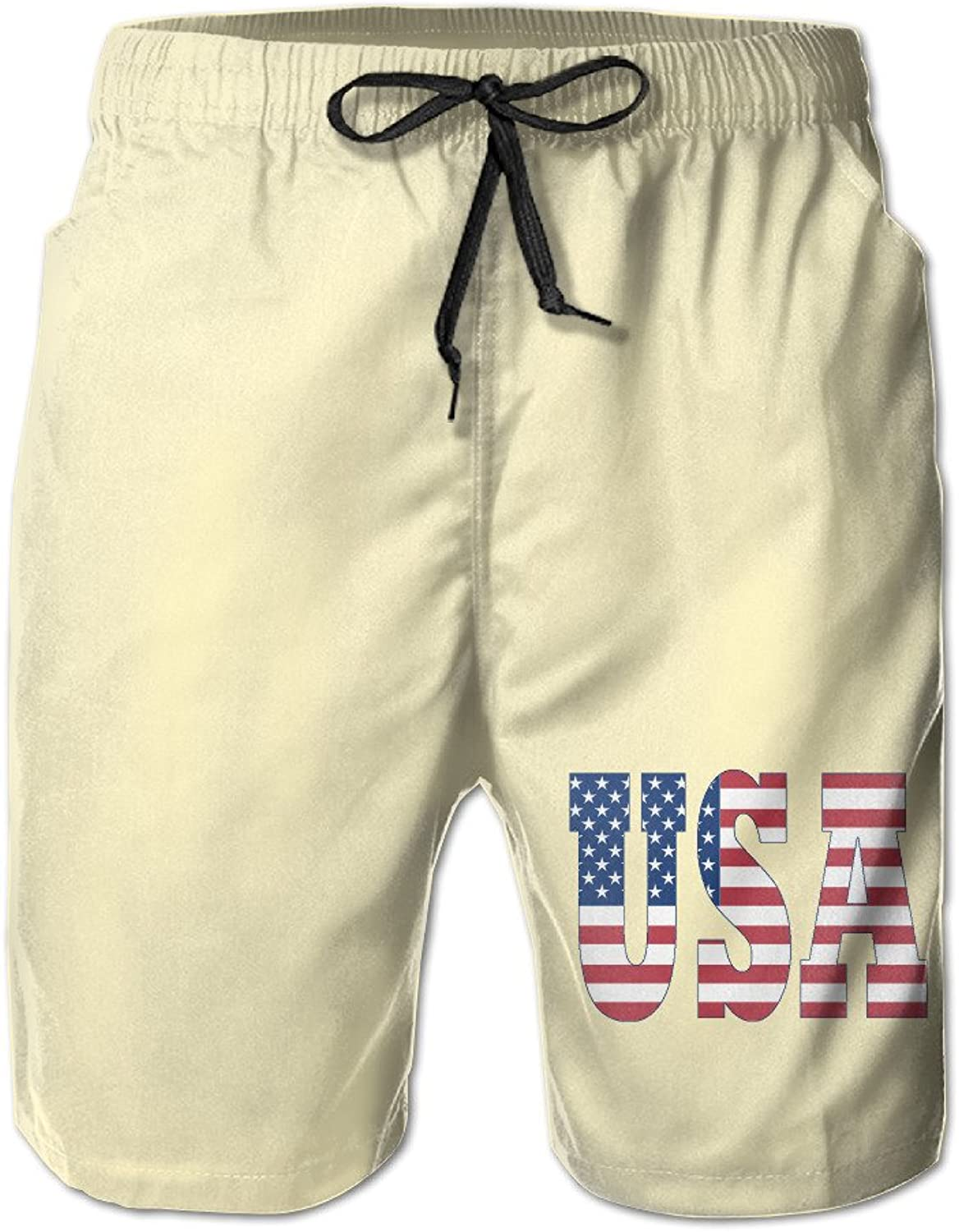 Men USA Letters Make The American Flag Board Shorts Swim Trunks