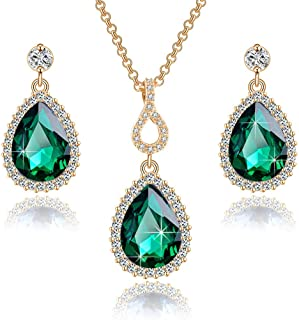 Swarovski Crystals Teardrop Pendant Necklace Earrings for Women 14K Gold Plated Hypoallergenic Jewelry Set