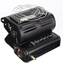 GYFHMY Portable Butane Heater Camping Gas Stove, 2-in-1 Multifunction Design, Save Your Money, Adjustable Ceramic Burner for Outdoor Heating, Fishing, Cooking