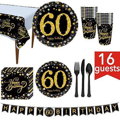 Viesky 60e verjaardagsfeestbenodigdheden 114 stuks - Serves 16, Inclusief zwart en goud Banner, wegwerp tafelkleed, messen, lepels, vorken, papieren borden, servetten, bekers