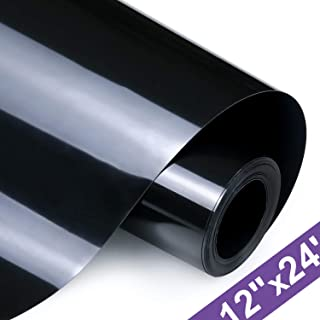 HTV Iron on Vinyl 12 Inch x24 Feet Roll by ARHIKY for Silhouette and Cricut Easy to Cut & Weed Iron on Heat Transfer Vinyl DIY Heat Press Design for T-Shirts Glossy Black