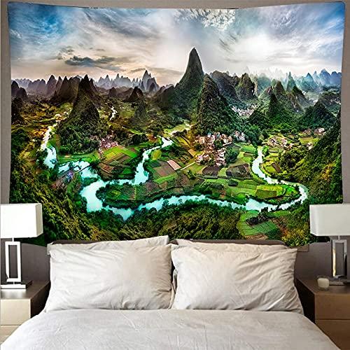 Montaña bosque lago paisaje tapiz arte psicodélico colgante de pared toalla de playa mandala manta fina tela de fondo A3 73x95cm