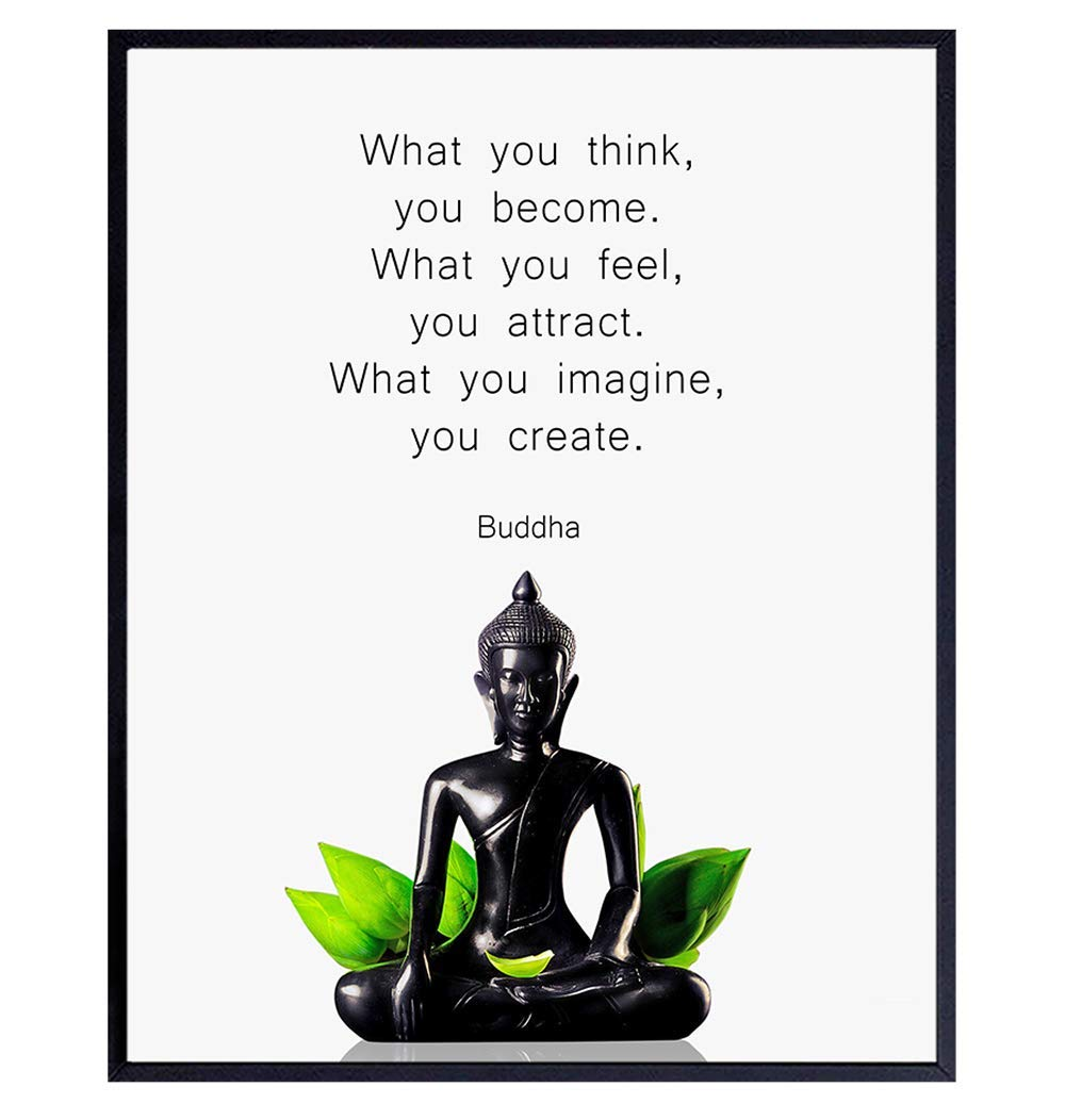 Buddha Quotes Wall Decor - Inspirational Quote Wall Art - Zen Meditation Decor - Buddha Statue Wall Art - Spiritual Gifts for Women, Men - New Age Spa Room Decor - Yoga Wall Art - Buddhism Buddhist