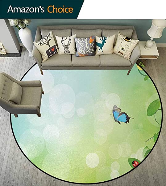 Ladybugs Art Deco Pattern Non Slip Backing Washable Round Area Rug Spring Theme With Flowers Ladybugs And Butterflies Transformation Morph Print Foam Mat Bedroom Decor Diameter 59 Inch Light Green