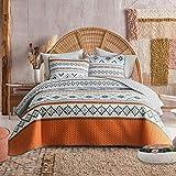 FlySheep 3-Piece Lightweight Geometric Boho King Quilt Set, Bohemian Tribal Orange Summer Bedspread/Coverlet, Brushed Microfiber for All Season - 104' x 90'