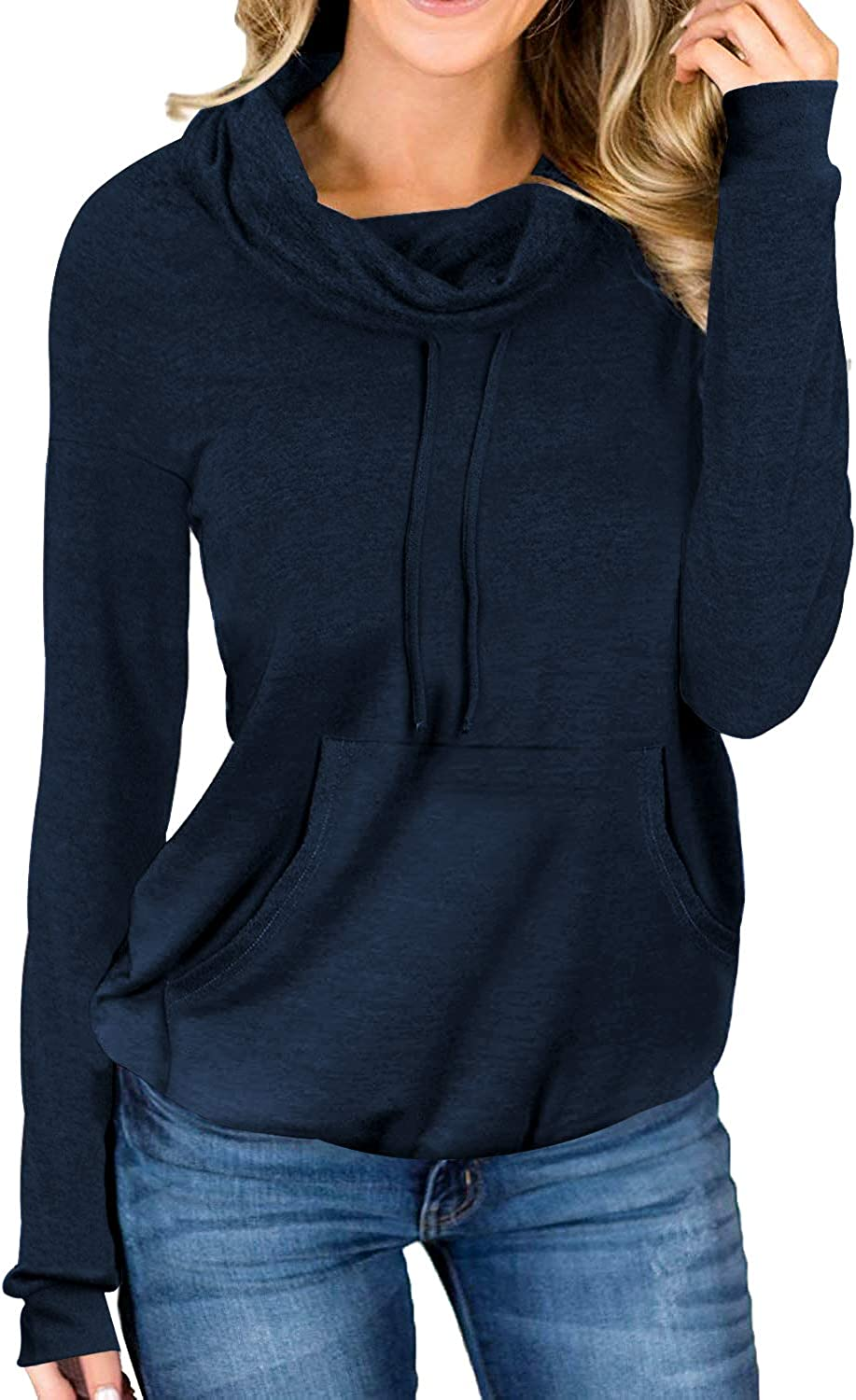 Davenil Women's Sweatshirts with Pocket Cowl Neck Sweaters Long Sleeve Pullover Casual Loose Tops with Drawstring