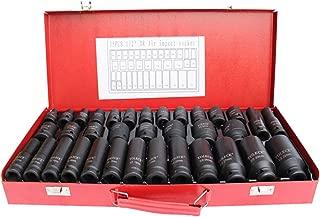 Nisorpa 35pcs Deep Impact Socket Set 6 Point Sockets Spindle Axle Nut Garage Workshop Car Auto Truck Repair Hand Tools 8-32MM