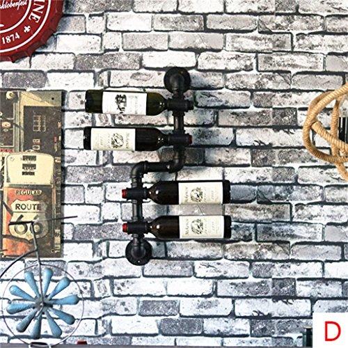 Etagère à bouteille Porte-bouteilles de vin suspendus Porte-bouteille de vin en métal Fer d'eau de vin Tuyaux étagères de rangement Style Vintage Creative Bar Décoration -7 tailles disponibles