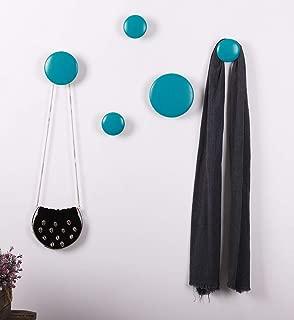 Dots Coat Hooks Wood Wall Hooks 5 Hook Coat Rack Bedroom Hook Multi-Purpose for Home Decor.(blue)