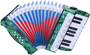Accordion for kids Children, 17 Key 8 Bass Mini Small Piano Accordions Educational Musical Instrument Rhythm Toys for Amateur Beginners Students (Red, Blue, Green, Navy Blue)(Green)