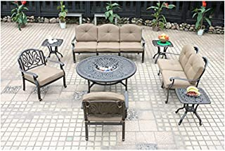 8 Piece Deep Seating Group Elisabeth Patio Conversation Set Cast Aluminum Outdoor Furniture.