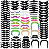 96pcs Fake Mustaches Self Adhesive Novelty Fake Mustache, Black Costume Mustache Colorful Fake Beards Mustache for Mustache Party Halloween Festival Performance Supplies Photo Decorations,16 Style