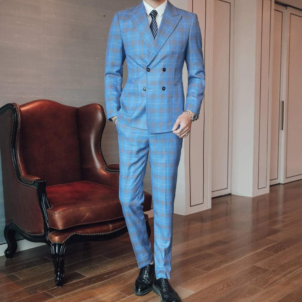 MarXixi Traje Azul Claro Traje de Tres Piezas para Hombres ...