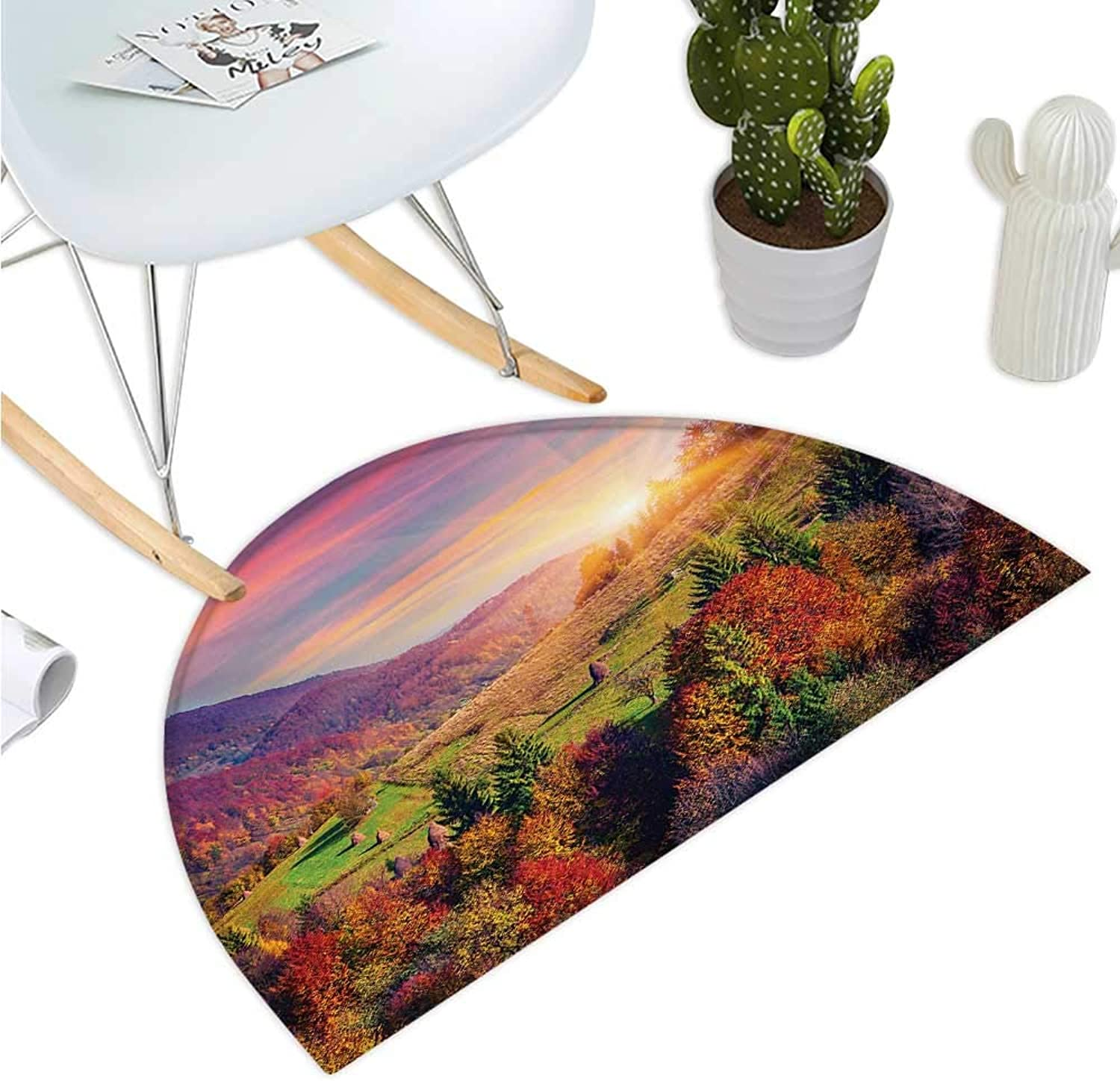 Nature Semicircle Doormat Pastoral Autumn Morning in Mountain Village Fall Tree Surreal Rural Print Halfmoon doormats H 39.3  xD 59  Red Purple Green