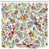 CDHBH Cortina de baño floral mexicano, arte étnico, pájaros y flores, en tela...
