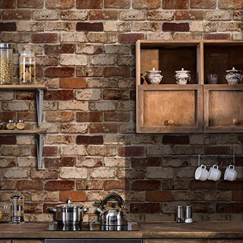 Okydoky Peel and Stick Wallpaper, Brick Wallpaper for Home Decoration, Kitchen Wallpaper Stick and Peel Backsplash, Vinyl Self Adhesive Wallpaper for House, Workshop & Office, 17.7' x 197', 105-5