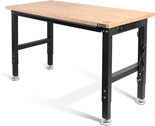 """lowest WORKPRO 48"""" Adjustable Workbench, Rubber Wood Top online sale Heavy-Duty Workstation, 2000 LBS Load Capacity Hardwood Worktable with Power Outlets, discount for Workshop, Garage, Office, Home online"""