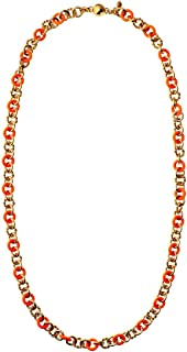 Enamel And Rope Chain Strand Necklace, Orange