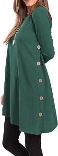 Women's Long Sleeve Scoop Neck Button Side Tunic Dress