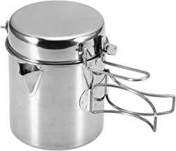 Lixada Camping Cooking Kettle 1L Stainless Steel Pot with Foldable Handle and Dual Use Cover Portable for Hiking Backpacki...