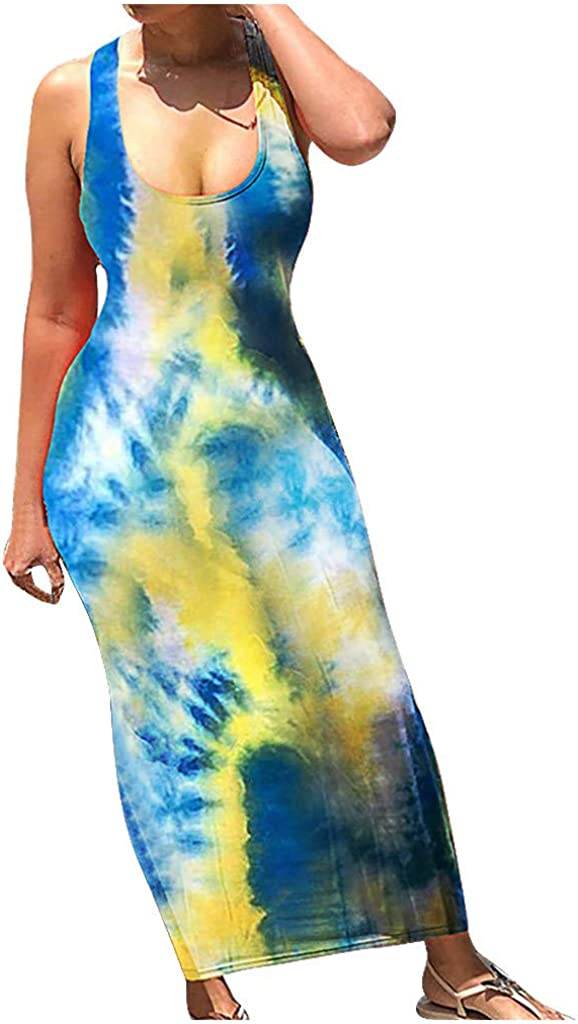 Womens Dresses Casual Summer Loose Bohemian Back Bandage Strap Bodycon Sleeveless Maxi Summer Beach Swing Sundress