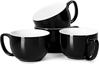 Teocera Porcelain Jumbo Mugs with Handle - 16 oz for Cappuccino, Coffee, Latte, Soup, Cereal, Black - Set of 4