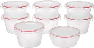 Amazon Brand - Solimo Plastic Kitchen Storage Container Set, 8-Pieces (Transparent)