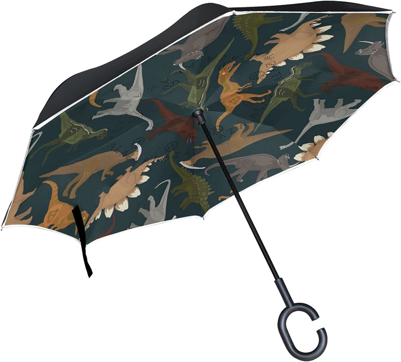 MASSIKOA Dark Dinosaurs Ingreened Double Layer Straight Umbrellas Inside-Out Reversible Umbrella with C-Shaped Handle for Rain Sun Car Use